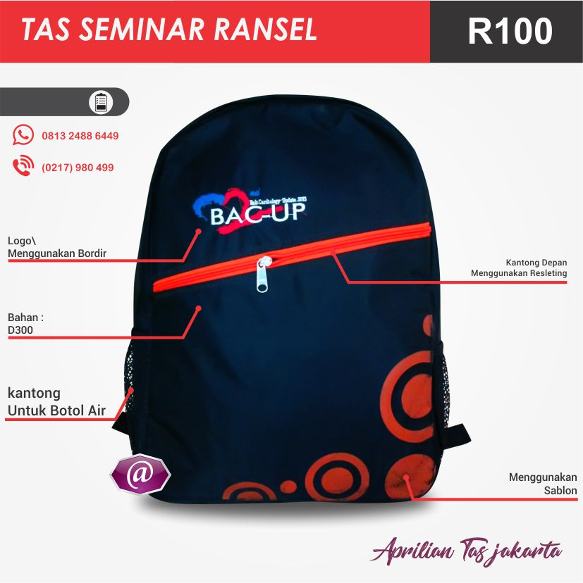 detail tas seminar ransel R100 grosir tas seminar jakarta