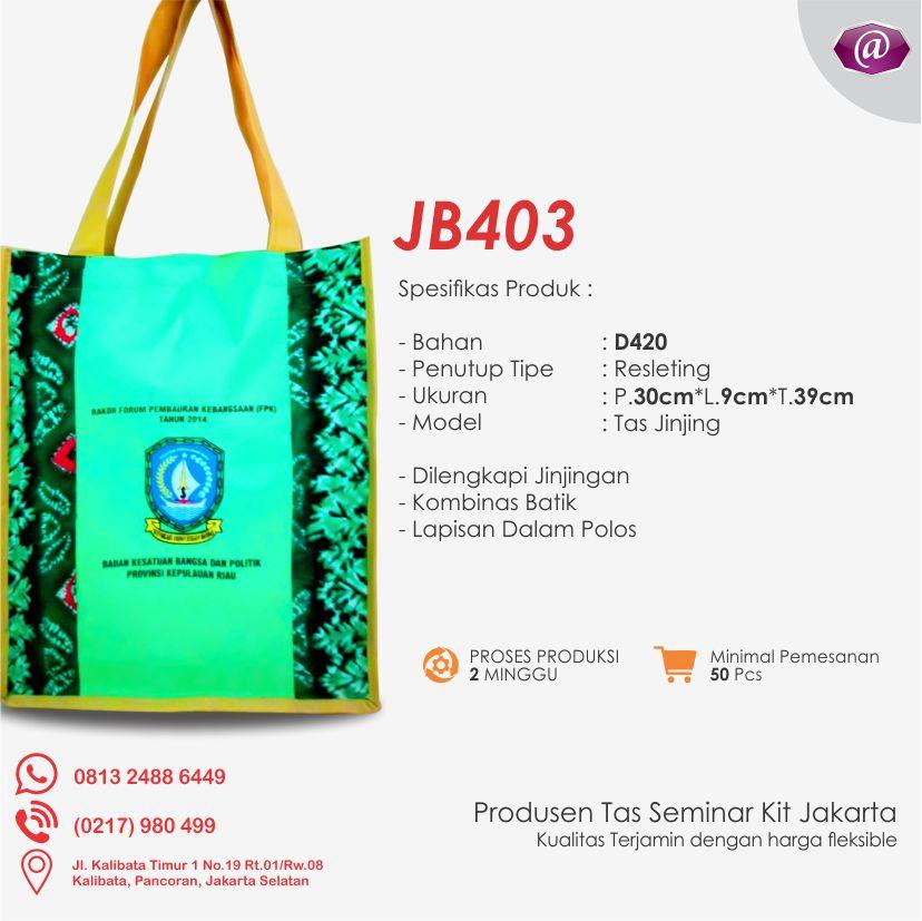 spesifikasi tas seminar jinjing batik JB403 pabrik tas seminar jakarta
