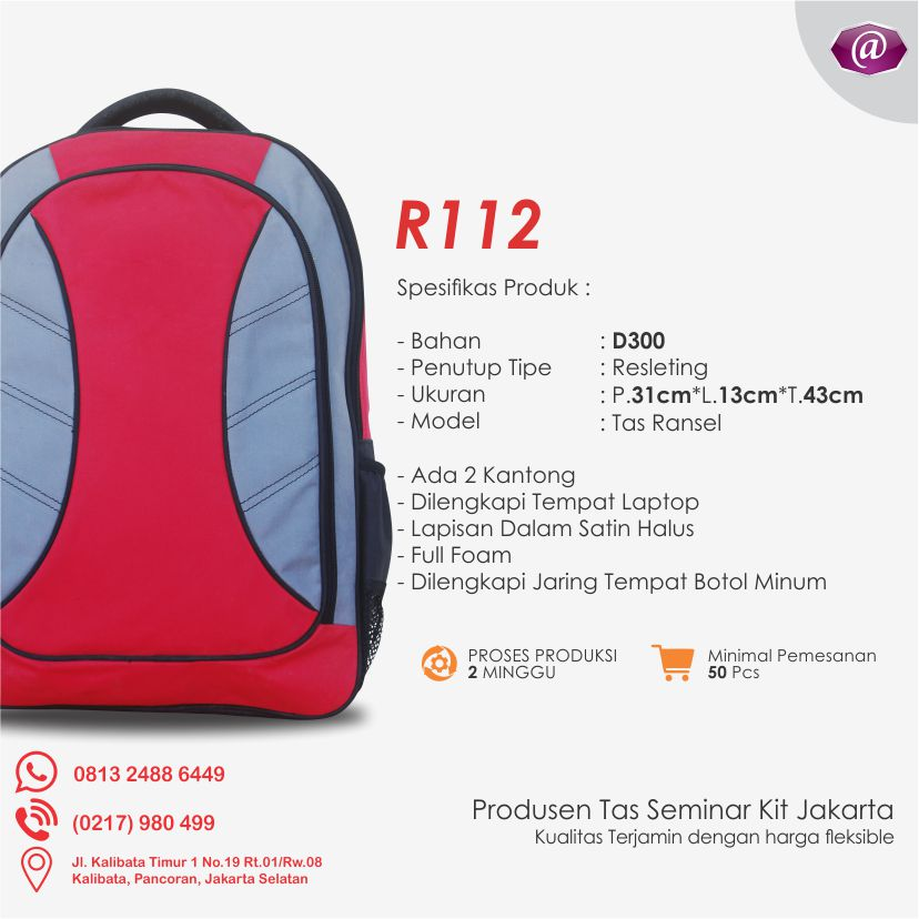 spesifikasi tas seminar ransel R112 grosir tas seminar jakarta