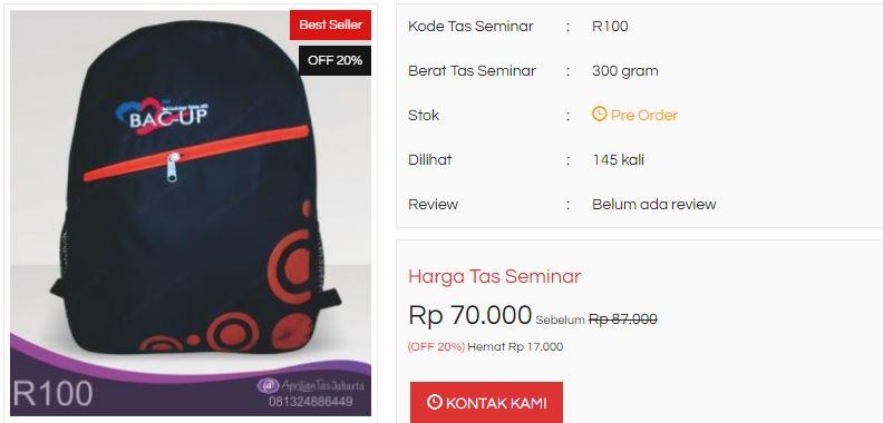 Beraneka Macam Tas Promosi di Jakarta | Tas Seminar Ransel Model R100
