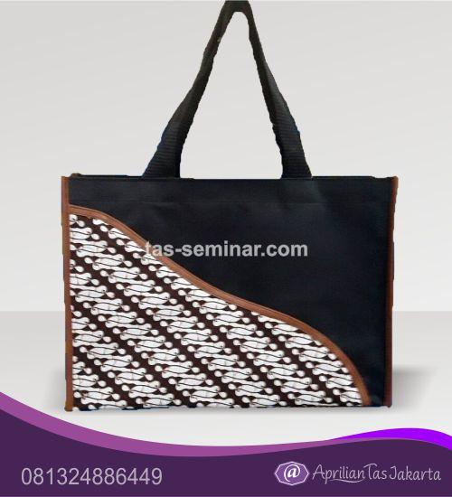 tas seminar, Tas Jinjing Hitam Kombinasi Batik dan Kulit Sintetis