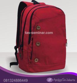 Tas Ransel Laptop Merah Kombinasi Kancing