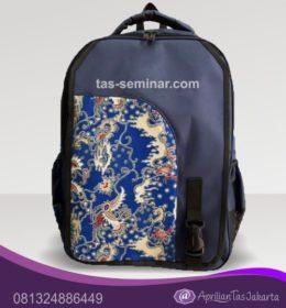 tas seminar Tas Ransel Seminar Biru Dongker Kombinasi Batik Biru