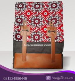 tas seminar, tas souvenir Tas Seminar Backpack Wanita Batik Kombinasi Kulit Sintetis