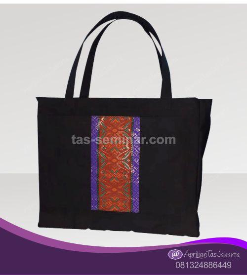 tas seminar, tas souvenir Tas Seminar Jinjing Hitam Kombinasi Batik