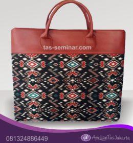 tas seminar, tas souvenir Tas Seminar Jinjing Kulit Sintetis Kombinasi Batik