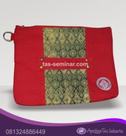 tas seminar, tas diklat, tas pelatihan Tas Seminar Pouch Merah Kombinasi Batik
