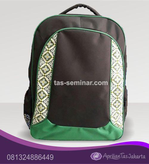 tas seminar, tas pelatihan Tas Seminar Ransel Hitam Hijau List Hijau Kombinasi Batik