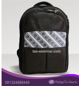 tas seminar, tas pelatihan Tas Seminar Ransel Hitam Kombinasi Batik