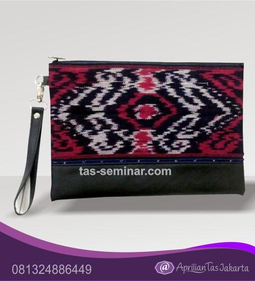 tas seminar, tas souvenir pouch bag komb batik merah hitam