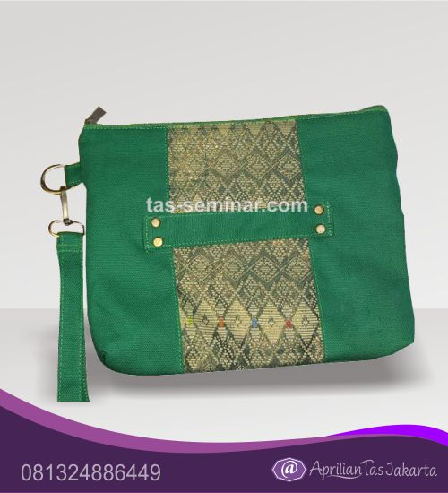 tas seminar, tas souvenir pouch bag hijau kombinasi batik