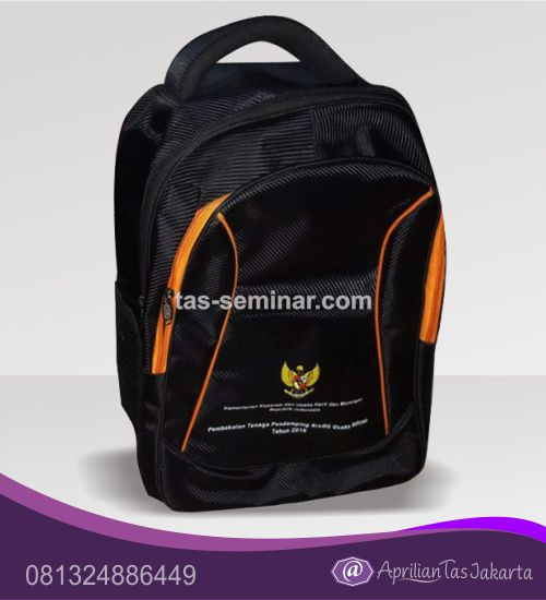 tas souvenir, tas seminar ransel d1680 hitam komb orange
