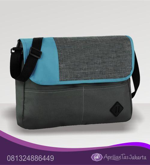 tas souvenir tas slempang biru dan abu
