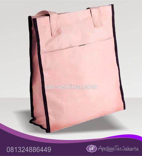 tas seminar, tas souvenir d600 pink garis hitam