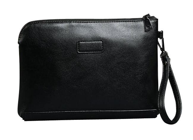Tas pounch bag kulit hitam untuk acara seminar